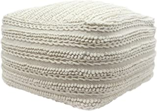 Christopher Knight Home Marcia Large Square Casual Pouf, Modern, Contemporary, Ecru Wool and Cotton
