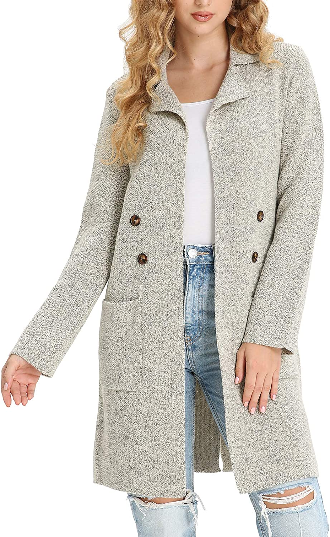 Daetidaca Women Long Sleeve Lapel Collar Drape Knit Cardigan Open Front Sweater Coats with Pocket