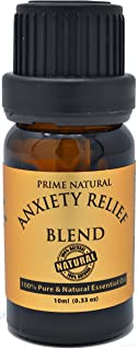 Prime Natural Anxiety Relief Essential Oil Blend 10ml / 0.33oz - Natural Pure Undiluted Therapeutic Grade for Aromatherapy, Scents, Diffuser, Bracelet, Anti Stress Focus Grounding Calming, Boost Mood