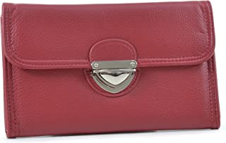 MKP Wallet for Women PU Leather Credit Card Holder Trifold Checkbook Organizer Zipper Coin Purse w/Buckle Snap Closure (Red)
