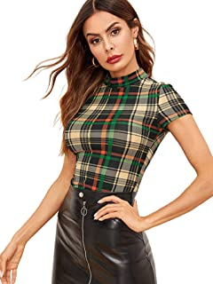 Women's Casual Mock Neck Plaid Slim Fit Workwear Blouse Top