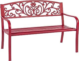 Best Choice Products Patio Garden Bench Park Yard Outdoor Furniture Steel Frame Porch Chair, 50