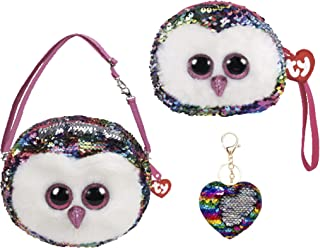 ReBL LLC Bundle of TY Fashionable Gear Color Changing Glitzy Glam Sequins Plush Purse and Matching Wristlet with One Heart Or Star Sequin Keychain (Owen)