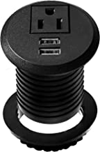 Desktop Power Grommet Socket Desk Outlet Build-in 1 US Standard Outlet and 2 USB Ports with 6.56 FT Extension Power Cord for Office Home Hotel