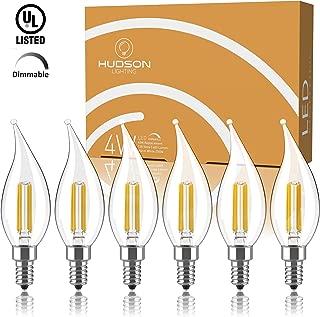 Dimmable Candelabra LED Light Bulbs: 4 Watt, 2700K Warm White Lightbulbs – 40W Equivalent – E12 LED Bulb Base – Flame Tip – 400 Lumen – UL Listed – Indoor or Outdoor LED Candelabra Bulb Set – 6 Pack