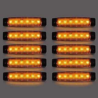 LED Seitenmarkierungsleuchten, 10 Stücke LED Lkw Seitenlichter 6 SMD LED Seitenmarkierungs kontrollleuchte Vorne Hinten Seitenlicht Positionslampen 12 V für Auto (Gelb)