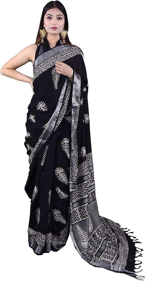 Indian Deepali Handicraft Women's Chanderi Linen Saree With Blouse Piece (DH00107_Black) Saree