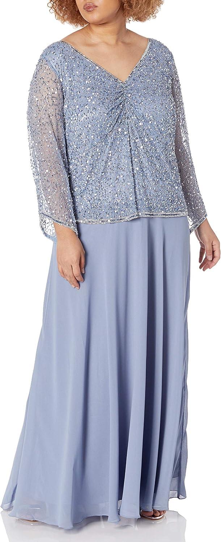 J Kara Women's Plus Size Beaded Bodice V-Neck 3/4 Sleeve Popover Gown