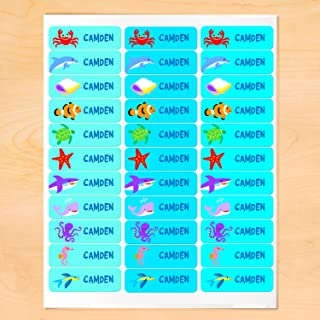 Ocean Personalized Rectangle Waterproof Peel and Stick Labels for School and Camp, 30 Custom Labels
