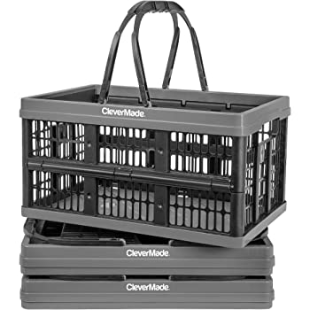 Black Plastic Stackable Grated Wall Utility Containers CleverMade 45L Collapsible Storage Bins 3 Pack 8031165-0063PK CleverCrates Baskets