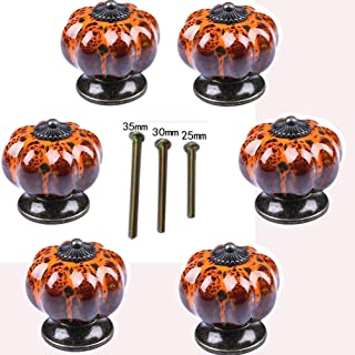 6-Piece Set of Ceramic knobs with Colorful knobs and Pumpkin Handles for cabinets, Kitchen and Bathroom cabinets, Blinds (Leopard Orange)
