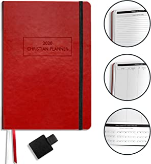 """$29 » Christian Planner 2020 Planner, Bible Journal, and Gratitude Journal   7""""x10"""" Lay Flat Hardcover Vegan Leather Journal with Thick No-Bleed Paper   Month, Week & Daily Organizer (Wine Red)"""