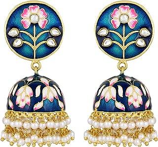 Traditional Enamel Work Color Jhumki Jhumka Earrings Indian Ethnic Wedding Party Fashion Jewelry for Women