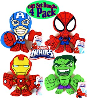 Playskool Marvel Super Hero Adventures Plush Figures Spider-Man, Iron-Man, Captain America & The Hulk Gift Set Bundle - 4 Pack