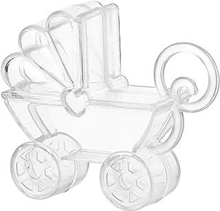 علب حلوى أكريليك على شكل عربة أطفال - 12 عبوة - 2.75 بوصة × 2.75 بوصة × 0.71 بوصة - مثالية لحفلات الزفاف وأعياد الميلاد وه...