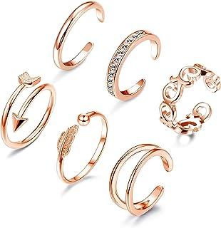 Adramata Set di 6 Anelli con Punta Aperta per Anelli da Donna con Cinturino a Forma di Coda di Gioielli, Tono Oro Rosa Reg...