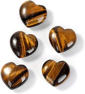 5Pcs Natural Love Heart Shaped Healing Palm Tiger's-Eye Opal Crystal Stone Polished Reiki Gemstone Decoration 0.99X0.99X0....