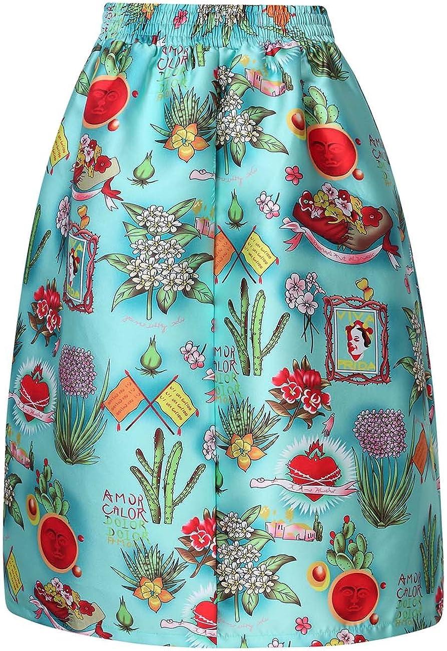 VeryAnn Women 1950s Vintage High Waist A-Line Pleated Skirt P-5 XL