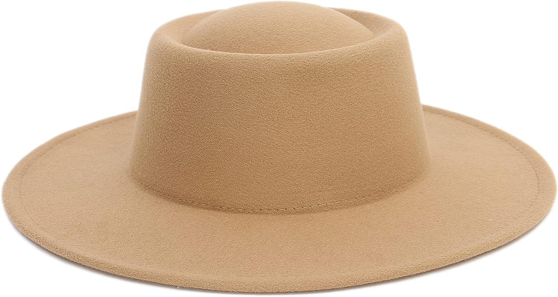 EOZY Fedora Hats for Women Men Pork Pie Hat Wide Brim Felt Hats Flat Top Porkpie Hat Boater Church Derby Cap