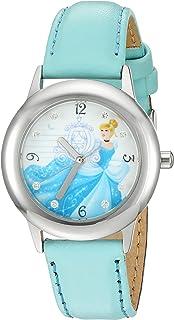 """ساعة ديزني """"سندريلا"""" كوارتز بسوار من الستانلس ستيل والجلد للبنات - اللون: ازرق (W002937)"""