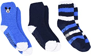 Disney Little Boys Mickey Mouse 3-Pack Plush Gripper Crew Socks, Shoe Size 10-4