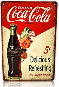 Save Directly Coca-Cola Coke Drink 5¢ Delicious Refreshing in Bottles Metal Sign 8x12 Inches