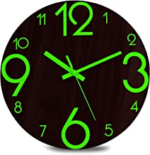 Plumeet Luminous Wall Clock – 12'' Non-Ticking Silent Wooden Clocks with..