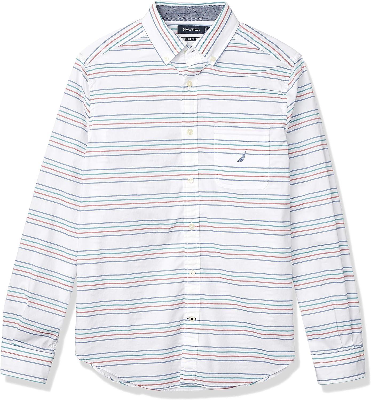 Nautica Men's Classic Fit Striped Poplin Shirt