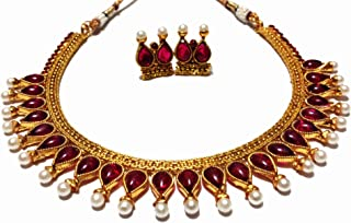 Ruby Red Kemp Stone Pearl Antique Gold Plated Fashion Indian Jewelry Necklace and Earring Set