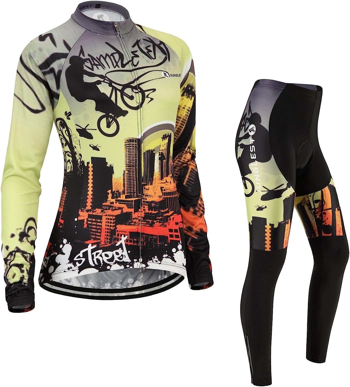Cycling jersey Set, Maillot de Cyclisme Women Femme Long sleeve Manches Longues(S5XL,option bib Cuissard,3D pad Coussin) N247