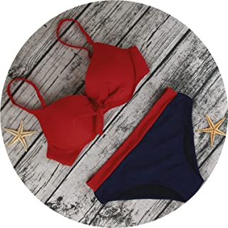 Push Up Bikini Mujer Solid Vintage Swimsuit Two-Piece Swimming Suit Women Low Waist Sexy Swimwear