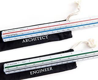 Architectural Scale Ruler (Imperial) and Engineer Scale Ruler Set - Two 12 Inch Aluminum Triangular Scale Rulers with Protective Sleeves