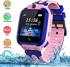 Kids Waterproof Smart Watch, SZBXD GPS Tracker Phone SOS Anti-Lost Alarm Sim Card Slot Touch Screen Voice Chat Smartwatch Birthday for Children Girls Boys (Pink)