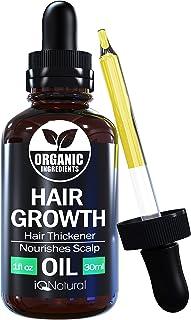 سرم رشد مو توسط IQ طبیعی - روغن رشد مو برای کمک به رشد طبیعی قوی تر ، ضخیم تر و بلندتر - روغن رشد مو ساخته شده از روغن کرچک سیاه جامائیکایی - 1oz (30ml)