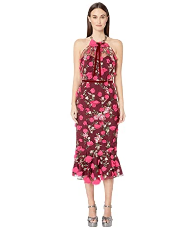 Marchesa Notte Sleeveless Embroidered Halter Cocktail w/ 3D Flowers Dress (Wine Red) Women