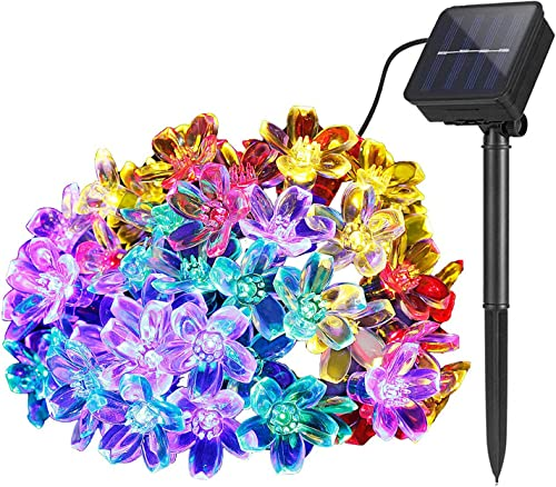 Lámparas solares de Flor cadena Exterior Jardín, 7m 50 LED Impermeable Luces de Hadas Decoración Festival Vistoso Luz...