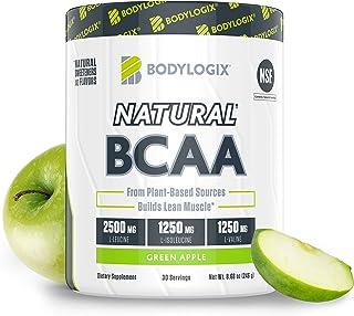 Bodylogix Natural BCAA Powder, NSF Certified, Green Apple, 30 Servings