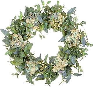 POETIC WREATH F9 Large 21 inch Green Leaf Berry Wild Flower Grapevine Wreath.Year Round Wreath.Spring Wreath.Summer Wreath.Front Door Wreath.Festival Wreath.Gifts Handmade Wreath.Rustic Wreath