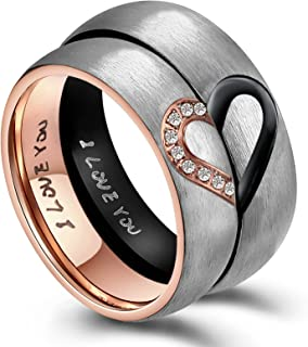 His & Hers Real Love Heart Promise Ring Stainless Steel Couples Wedding Engagement Bands Top Ring, 6mm