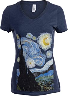 Starry Night | Vincent Van Gogh Famous Cool Star Painting Women's V-Neck T-Shirt Top