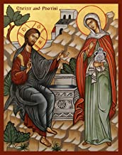 St. Photini and Christ FREE PRIORITY SHIPPING! English. Canvas Icon Print
