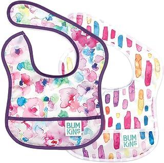 Bumkins Starter Bib, Baby Bib Infant, Waterproof, Washable, Stain and Odor Resistant, 3-9 Months, 2-Pack – Watercolors & B...
