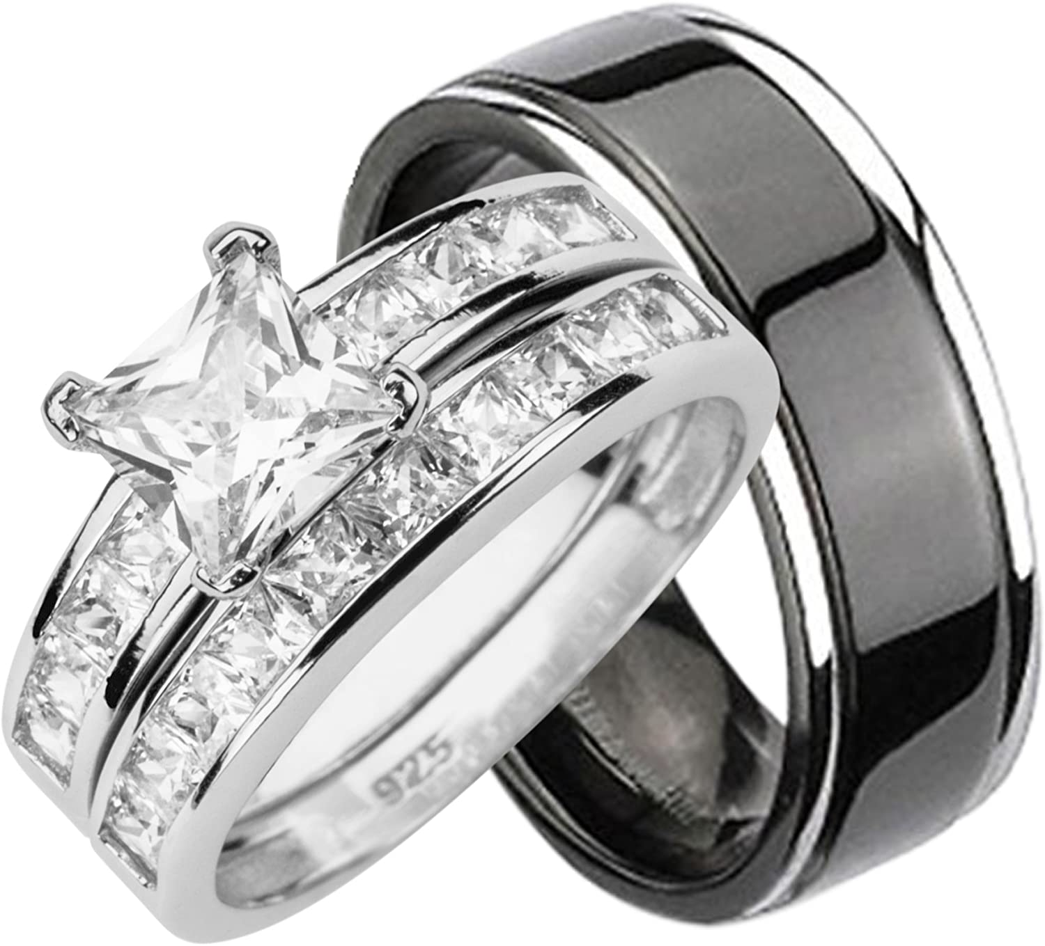 His and Max 60% OFF Hers Wedding Rings Silver National uniform free shipping Set Matching Titanium Sterling
