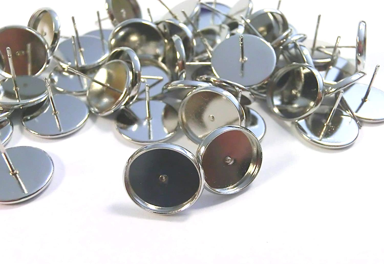 beadsvision 50 Ohrstecker f/ür 12mm Cabochons Farbwahl Ohrringe Fassungen Rohlinge DIY basteln Anthrazit #S448