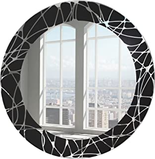 SDG Round Frameless Black Color Etched Mirror - 18 inch x 18 inch