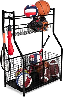 BIRDROCK HOME Sports Equipment Storage Rack - Steel Ball Storage Rack - Garage Ball Storage - Sports Gear Storage - Garage Organizer with Baskets and Hooks