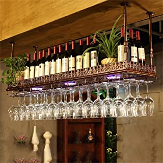 Porte Bouteilles Support de suspension en verre à vin de bar en métal vintage industriel, support de verre à vin de gobele...
