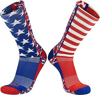 TCK Elite USA Flag Digital Camo Mis-Match Red White Blue Crew Socks