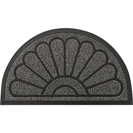 """Outdoor Door Mat by JeemeeSpace, Half-Circle Rubber Doormat, Durable Welcome Doormat for Entry, Patio, Backyard & Home, Heavy Duty & Capture Dirt (18"""" x 30"""", Grey)"""