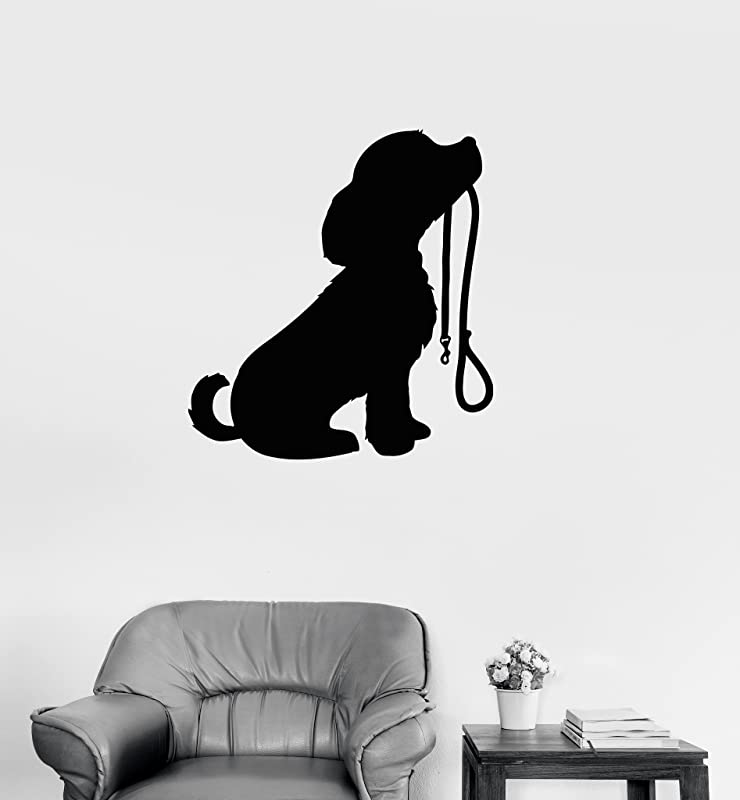 Large Vinyl Decal Cute Puppy Dog Animal Kids Room Baby Wall Sticker Mural Ig101 Black